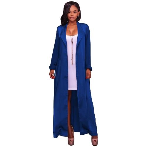 Nuevo cárdigan suelto de las mujeres frente abierto sólidas mangas largas delgada prendas de vestir exteriores ocasionales de la vendimia