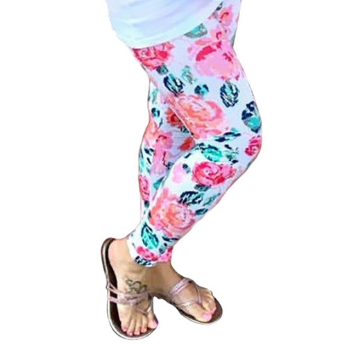 Nueva Moda Mamá Estampado Floral Leggings Stretch Yoga Running Sport Pants Pantalones Blanco
