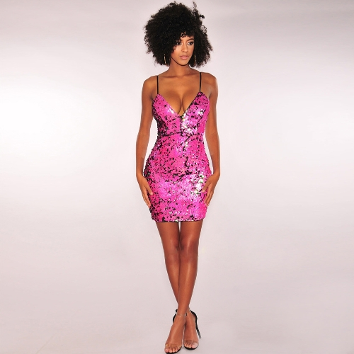 Lentejuelas atractivas de las mujeres Slip Dress Escote profundo sin mangas con cuello en V Bodycon Sparkling metálico Party Club Dress