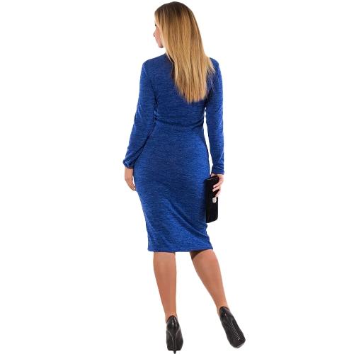 Frauen Rollkragen Bodycon Kleid mit langen Ärmeln Mantel Stretchy Plus Size Pencil Dress