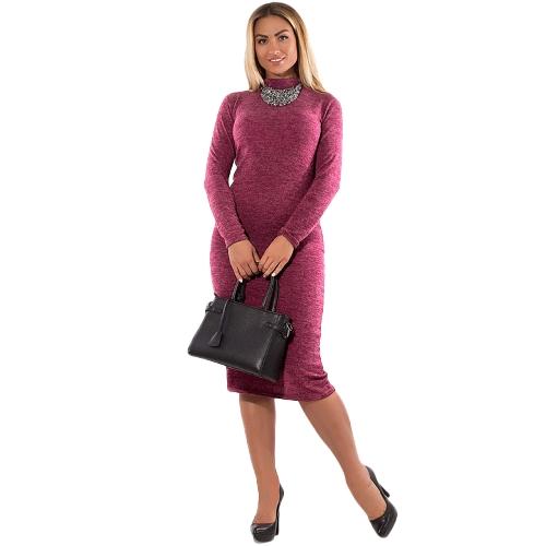 Vestido de Bodycon de cuello alto de mujer Vestido de mangas largas Vestido de tubo elástico más elástico