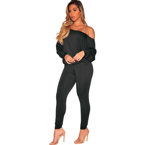Sexy Women Solid Two Piece Set Slash Neck Off The Shoulder Long Sleeve Tops & Pants Suit