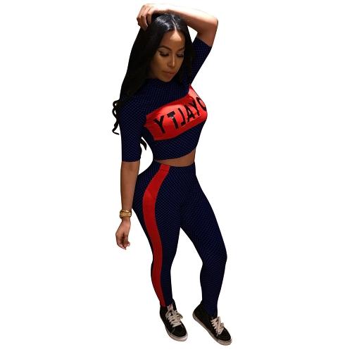 Chándal de las mujeres a cuadros con estampado de letras Crop Top manga corta pantalones de rayas Slim Two Piece Set trajes de fitness