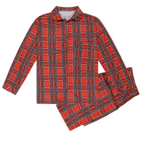 Familia mamá mujeres conjunto de dos piezas pijama a cuadros ropa de dormir manga larga botón informal casa desgaste pantalones superiores