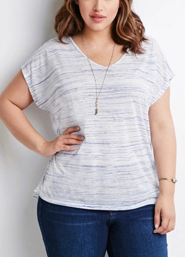 Plus Size V Stripes Cut Out Round Neck Short Sleeve Casual Tops