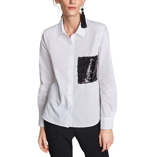 Camisa blusa vintage de manga larga con lentejuelas para mujer Blusa suelta OL Top blanca