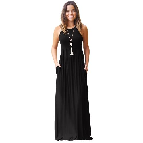 Kobiety ubierają Solidna Round Neck Bez rękawów Racer Tylna Wysoka Talia Plisowane kieszenie Maxi suknia Casual jednoczęściowy
