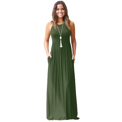 Vestido de las mujeres Solid cuello redondo sin mangas Racer Back cintura alta bolsillos plisados Maxi Gown Casual de una sola pieza