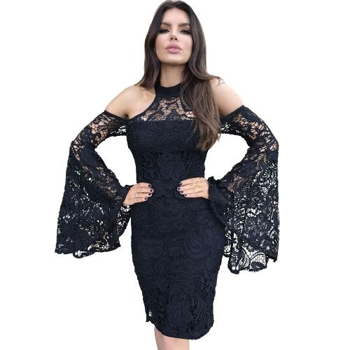 Vestido de encaje de las mujeres hombro Hollow Out manga de la falda Bodycon partido dividido Nightclub vestido del lápiz negro
