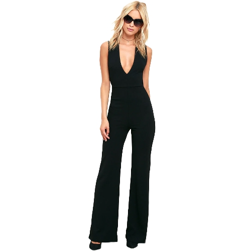 Mujeres Bell Bottomed Jumpsuit Deep V Neck Cross Back cintura alta sin mangas Casual Playsuit Rompers negro