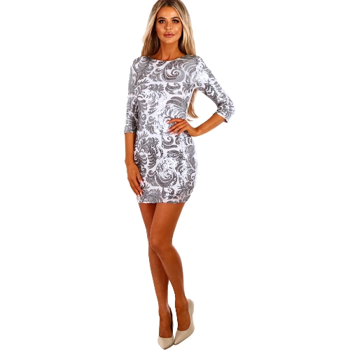 Moda donna paillettes mini abito mezza manica o collo sera party club elegante vestito aderente argento