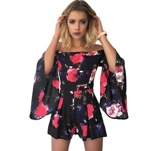Mamelucos de las mujeres Pantalones cortos Jumpsuit Off Shoulder Playsuit Estampados florales Beach Monos Casual Body Beige / Negro / Azul oscuro