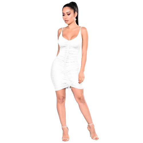 Las mujeres atractivas sin respaldo básico vestido sin mangas delgados chaleco sin mangas Bodycon vestido correa del partido del fruncido sólido mini vestido