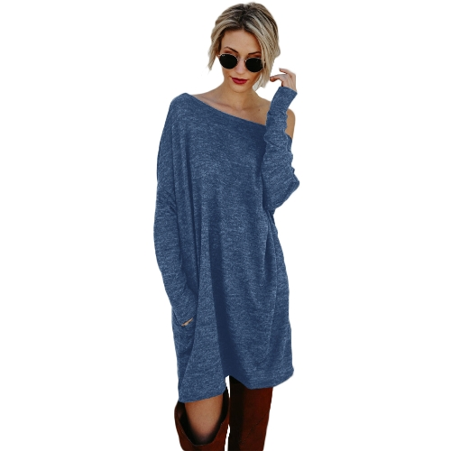 Sexy Women Loose Knit Sweater Dress Manga comprida Bolsos Solid Casual Party Mini Straight Dress