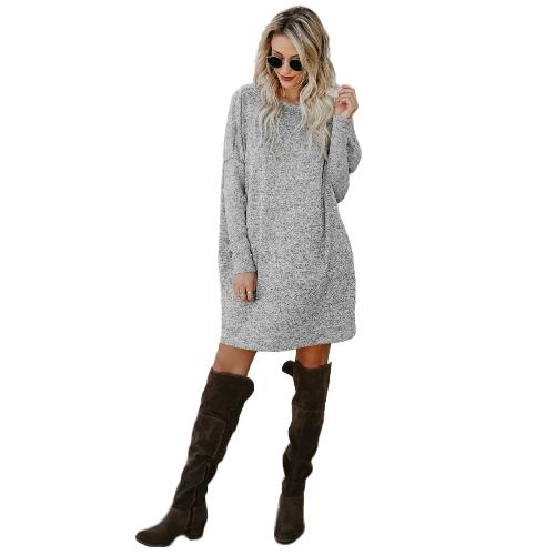 Las mujeres atractivas flojas de punto suéter vestido de mangas largas bolsillos sólido partido ocasional Mini vestido recto