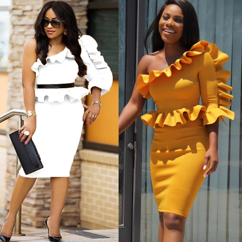 Women Dress Solid One Shoulder Asymmetric Neck Ruffle Peplum Midi Bodycon Elegant Party Wear Yellow/White