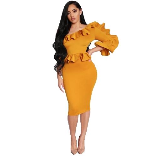 Vestido de mujer Sólido Un hombro asimétrico cuello volante Peplum Midi Bodycon elegante fiesta desgaste amarillo / blanco
