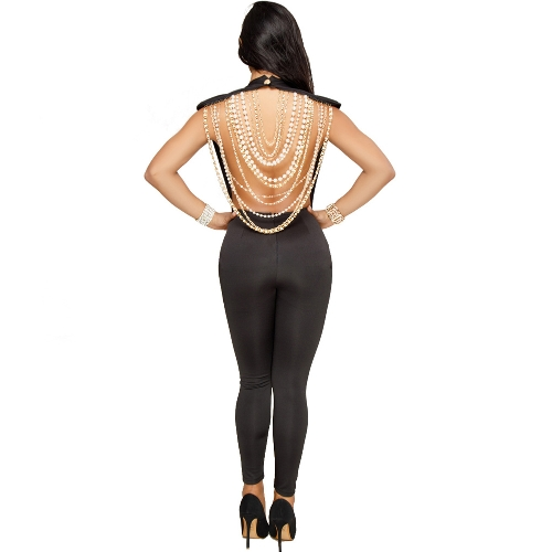 Sexy Women Pearl Chain Backless Jumpsuit O Neck Sleevelss Party Club Tuta Outfit Bodycon Pagliaccetti