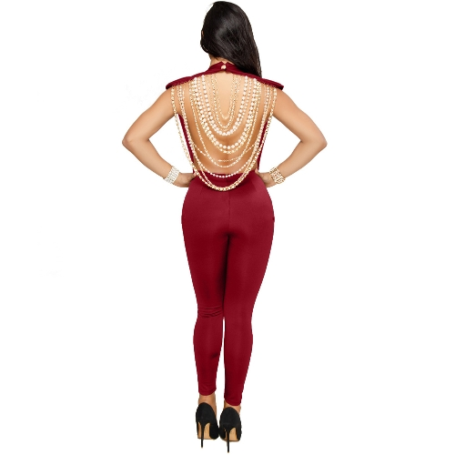 Mujeres Sexy Pearl Cadena Backless mono O cuello Sleevelss Party Club Trajes de Monos Bodycon Rompers