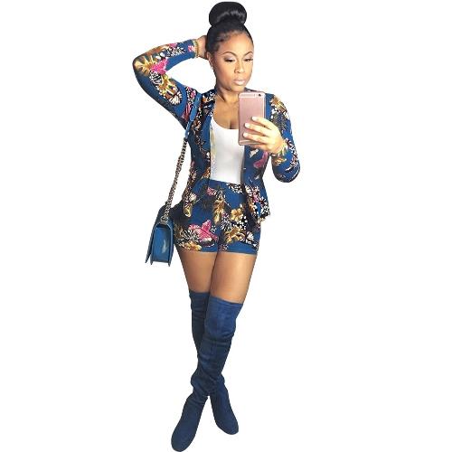 Las mujeres de la manera floral impreso chaqueta de manga larga de dos piezas Track Trajes Tops + pantalones cortos azul