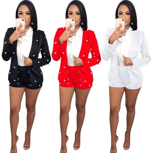 Sexy Frauen verschönert Perlen Blazer Set zweiteilige Outfits Langarm OL Arbeitskleidung kurze Overalls Trainingsanzüge