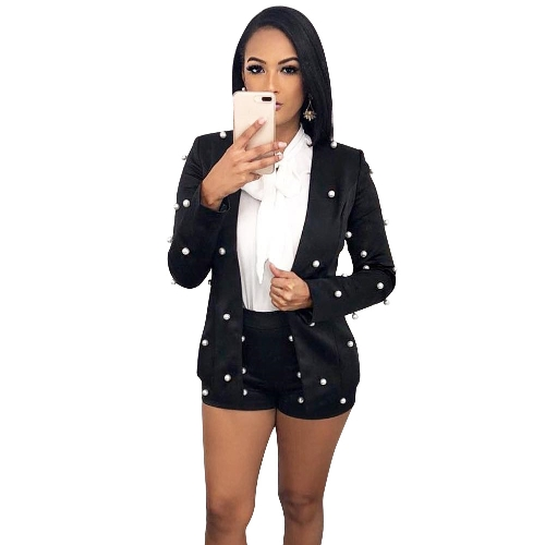 Sexy Women Embellished Pearl Blazer Set Two Piece Outfits Long Sleeve OL Trabalho Wear Short Overalls Tracksuits