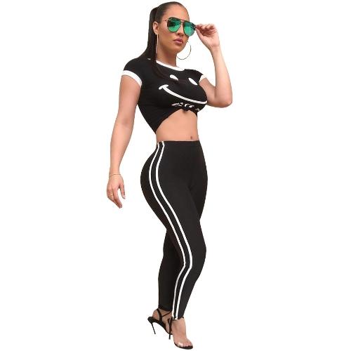 Mujeres de moda Carta de impresión de dos piezas Conjunto de manga corta Top Pantalones de rayas laterales Casual Sportswear Chándales