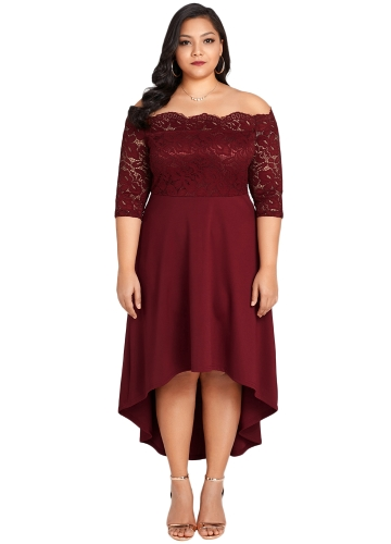 Kobiety Off Shoulder Party Dress Plus rozmiar Lace Scalloped Nightclub Vestidos Dress Burgundy