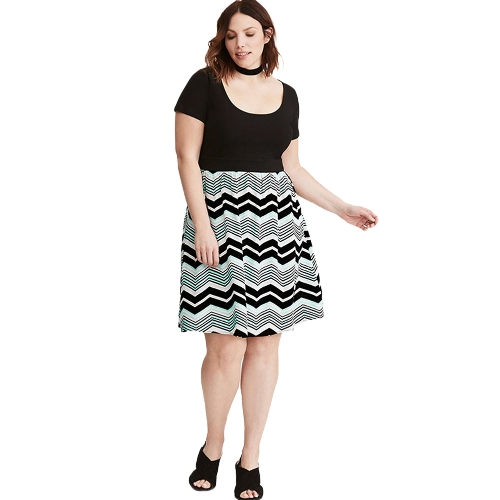 Women Plus Size Dress Stripe Imprimir Scoop Neck Short Sleeve Casual Party Club Loose Dress Black