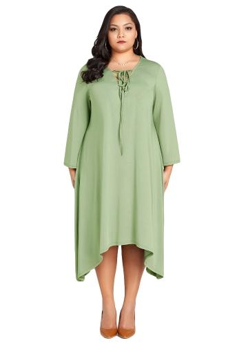 Novas mulheres da moda plus size lace up dress decote em v manga longa assimétrica hem oversized solto dress verde