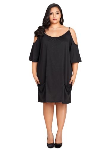 New Sexy Women Plus Size Cold Shoulder Dress Scoop Neck Mezza manica da sera oversize vestito da partito nero