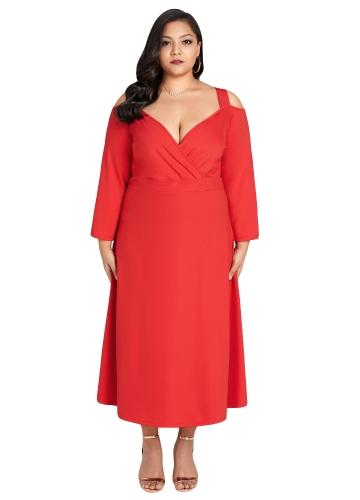 Novas Mulheres Elegantes Plus Size Vestido de Ombro Frio V Profundo Pescoço Manga Longa Cocktail Evening Party Dress Red