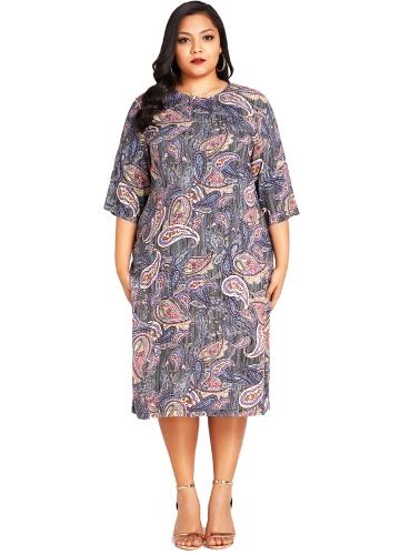 Moda damska Plus rozmiar sukni Paisley kwiatowy wzór O szyi 3/4 rękaw Strona ponadgabarytowych Dress Blue