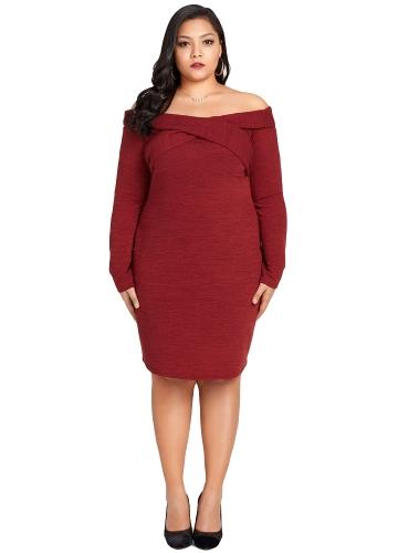 Sexy Women Plus rozmiar dzianiny sukienka off the Shoulder Cross przód z długim rękawem Slim Bodycon Mini sukienka Burgundy