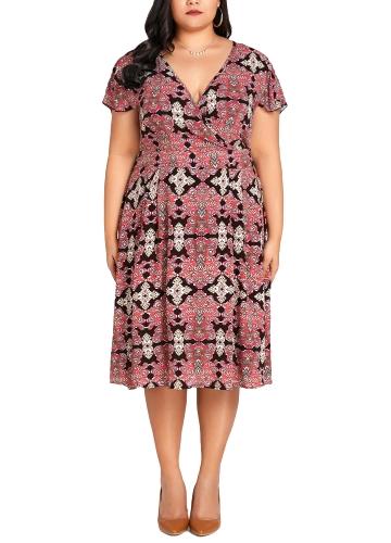 Frauen Plus Size Kleid Sexy V-Ausschnitt Blumendruck Kurzarm Elegant Schlank Große Größe Kleid Rose