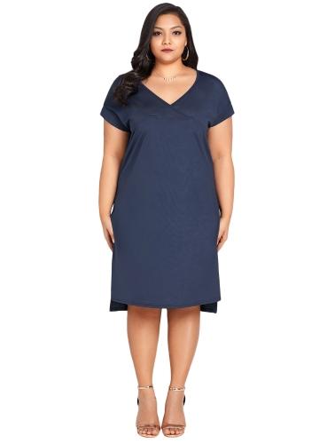 Mulheres Verão Plus Size Vestido V profundo Pescoço Sólidos Casual Vestidos Soltos Vestido Azul Escuro
