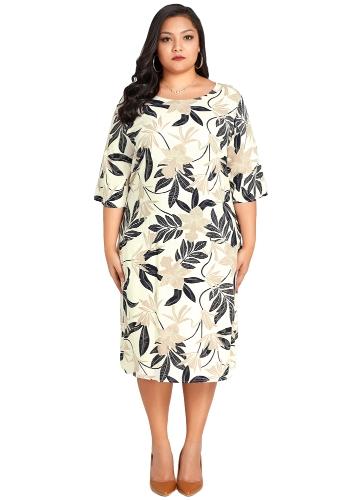 Mulheres Plus Size Vestido De Folhas De Impressão Floral Meia Manga Casual Solto Tamanho Grande Vestido Bege