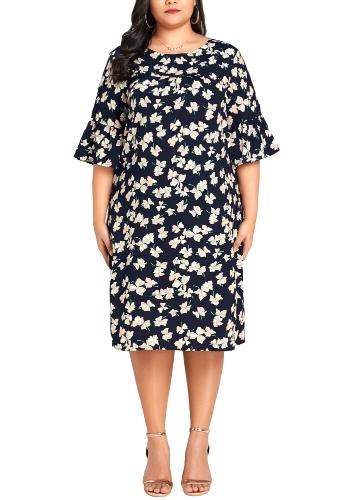 Elegancka damska sukienka w rozmiarze plus size Sukienka w kwieciste rękawy rozkloszowana na co dzień Sukienka luźna w dużym rozmiarze ciemnoniebieska