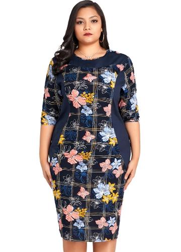 Mulheres da moda Plus Size Floral Imprimir Midi Vestido Meia Manga O Pescoço Casual Na Altura Do Joelho Oversized Vestido Azul Escuro