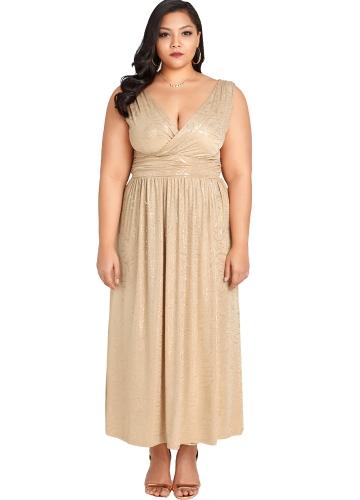 Mulheres Sexy Plus Size Floral Maxi Vestido de Ouro Profundo Decote Em V Banded Cintura Evening Party Club Vestido Longo Cáqui
