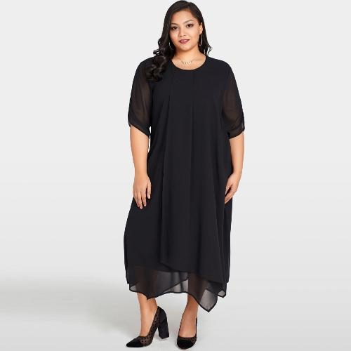 Le donne Plus Size abito in chiffon asimmetrico Hem solido casual allentato elegante abito nero vestidos