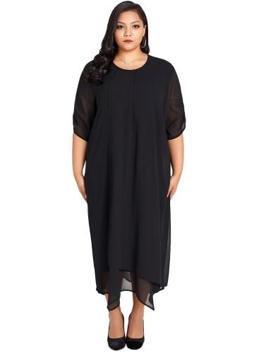 Mulheres Plus Size Vestido De Chiffon Assimétrica Hem Sólidos Casual Solto Vestido Elegante Vestidos Preto