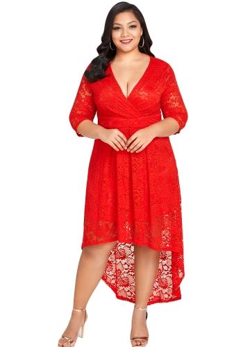 Neue Frauen Plus Size Spitzenkleid Kreuz vorne High-Low Hem tiefer V-Ausschnitt Halbarm Party Midi Kleider