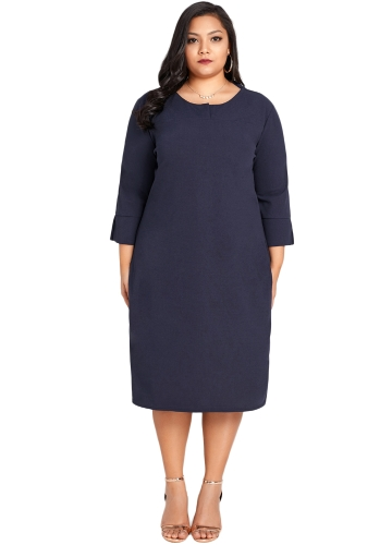 Femmes Plus Size Dress manches 3/4 solides Solid Casual lâche Élégante Party Dress Vestidos Dark Blue