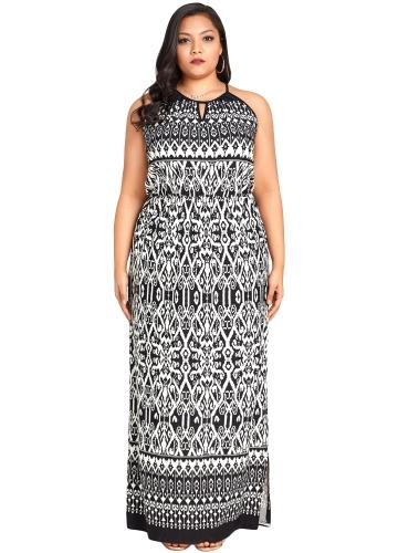 Frauen gedruckt Maxi Kleid aus Schulterfrei O-Ausschnitt Boho langes Kleid Plus Größe Vestidos schwarz ausgeschnitten