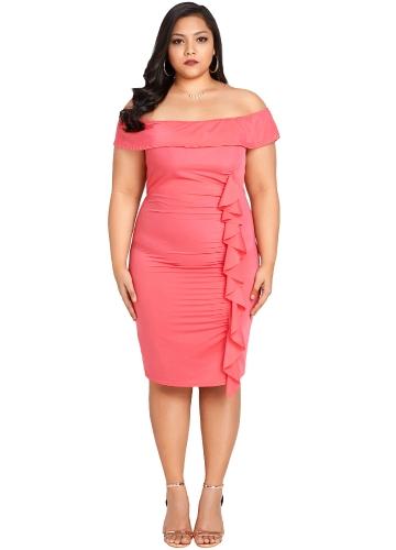 Kobiety Sexy Off Shoulder Bodycon Dress Ruffle Elegancka Slim Midi Sukienka Plus rozmiar Vestidos