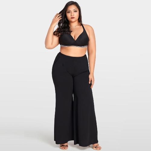 Mulheres Plus Size Calças Perna Larga de Cintura Alta Casual Solta Calças Bolsos Calças Flare Sólida Preto