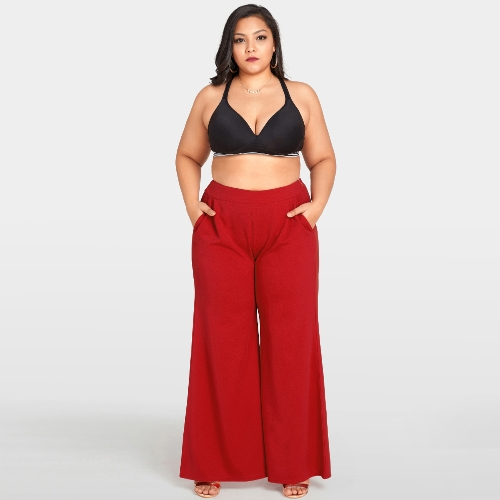 Frauen plus Größe breites Bein keucht hohe Taille beiläufige lose Hosen-Taschen feste Aufflackern-Hosen rot
