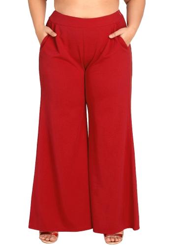 Женщины плюс размер Широкие брюки с длинным рукавом Высокие талии Повседневные свободные брюки Карманы Твердые штанины фото