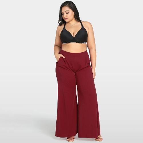 Mulheres Plus Size Calças Perna Larga de Cintura Alta Casual Solta Calças Bolsos Calças de Alargamento Sólida Borgonha